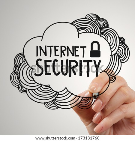 hand drawing  internet security on touch screen computer as concept - stock photo