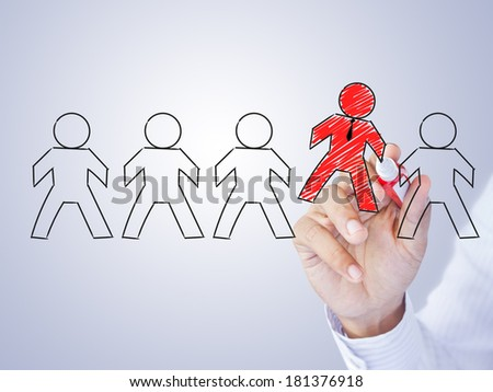 Hand drawing leader in group, leadership concept - stock photo