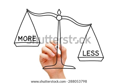 Hand drawing Less is More scale concept with black marker on transparent wipe board isolated on white.  - stock photo