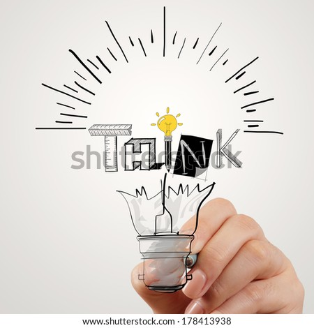 hand drawing light bulb and THINK word design as concept - stock photo