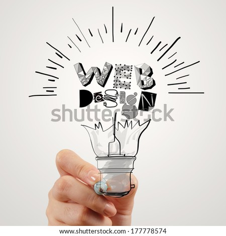 hand drawing light bulb and WEB DESIGN word design as concept - stock photo