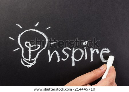 Hand drawing light bulb as symbol of Inspire word - stock photo