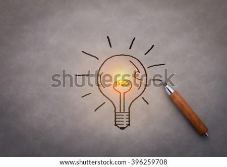 hand drawing light bulb Creativity idea concept - stock photo