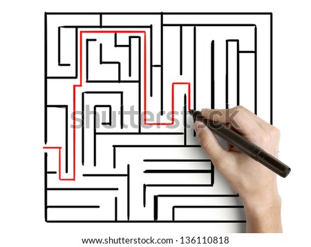 hand drawing maze on wall