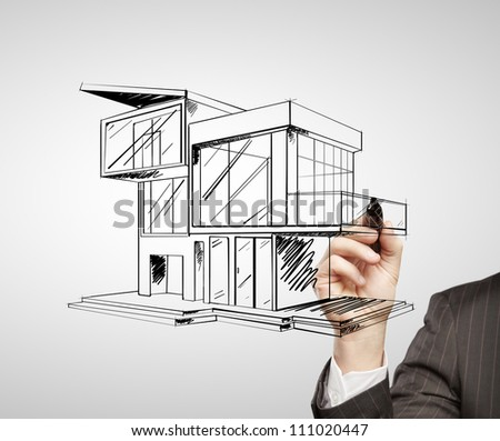 hand drawing modern house on a white background
