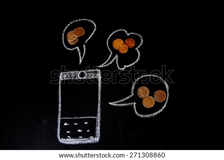 Hand drawing of a mobile phone with financial concept. Speech bubble drawing with chalk on blackboard. Different foreign currencies are designed.   - stock photo
