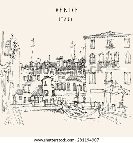 Hand drawing of Canareggio, Venice, Italy with a gondola. Vintage hand drawn engraved illustration with hand-drawn title words. Retro style postcard template