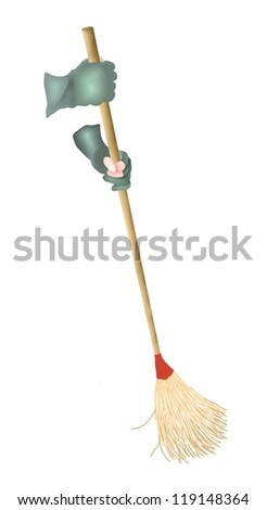 Hand Drawing of Person Cleaning and Sweeping Up The Floor by A Broom Isolated on White Background - stock photo