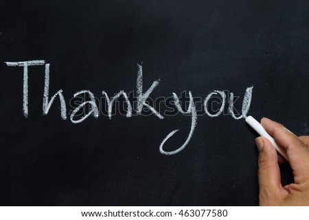 hand drawing of thank you on the blackboard