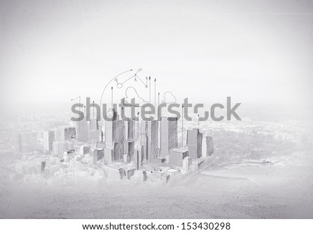 Hand drawing of urban scene. Construction concept - stock photo