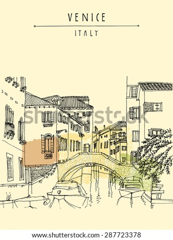 Hand drawing of Venice, Italy, with a bridge and boats. Vintage artistic freehand engraved illustration with hand-drawn title words. Vertical colorful retro style postcard greeting card template