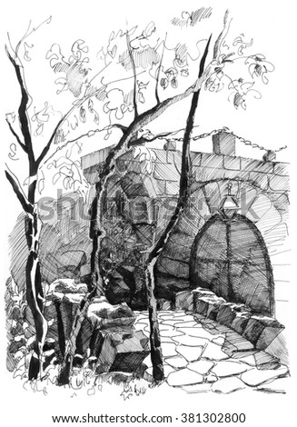 Hand drawing old bridge in front of castle - stock photo