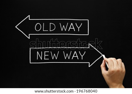 Hand drawing Old Way or New Way concept with white chalk on blackboard. - stock photo