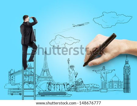 hand drawing on blue paper  businessman, traveling concept