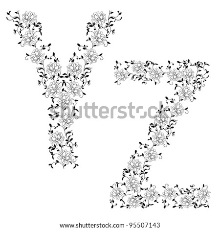 Hand drawing ornamental alphabet. Letter WJ. Vector version also available in portfolio.