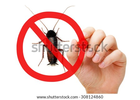 Hand drawing pest control concept with red marker. Prohibition sign on a cockroach. - stock photo