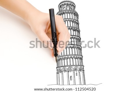 Hand drawing Pisa Tower line  in Italy for construction.