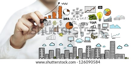 hand drawing plan business concept - stock photo