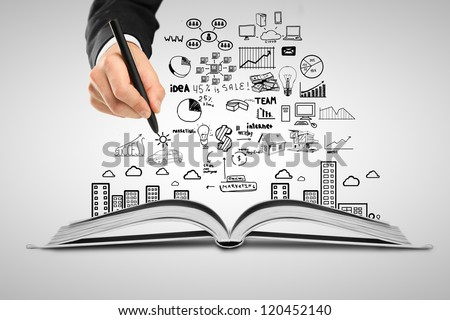 hand drawing plan strategy success in book - stock photo
