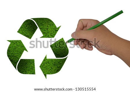 hand drawing recycle sign on white background - stock photo