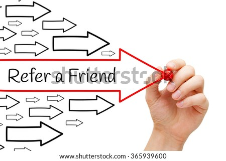 Hand drawing Refer a Friend arrows concept with marker on transparent wipe board. Referral marketing concept. - stock photo
