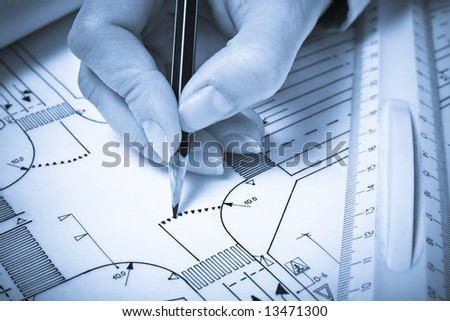 Hand drawing road plan. Blue tone. Shallow DOF. - stock photo