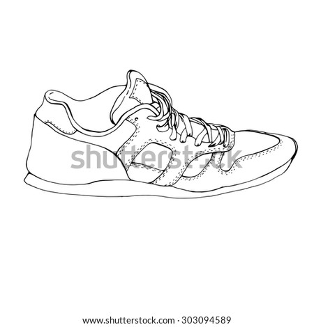 Hand drawing running sport shoe symbol stock illustration 303094589 hand drawing running sport shoe symbol icon sketch fitness sneakers blank sneaker template maxwellsz