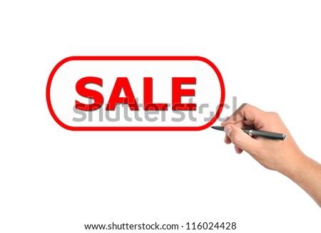 hand drawing sale on a white background