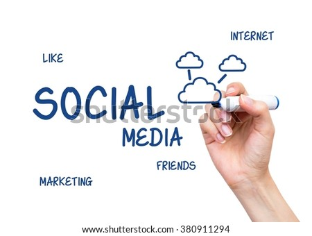Hand drawing Social Media words. Internet conception on virtual whiteboard - stock photo