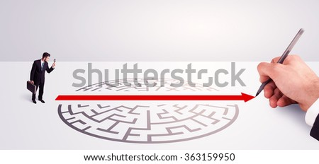 Hand drawing solution for successful businessman standing near the entrance of labyrinth