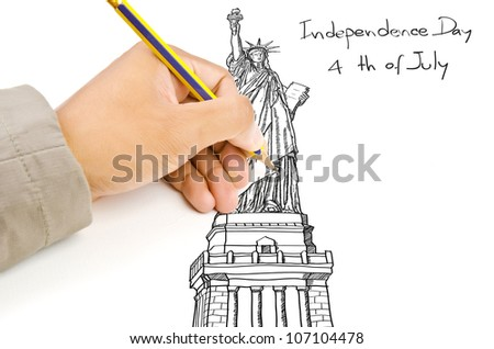 Hand drawing Statue of Liberty line  in USA for Independence Day, 4 th of July. - stock photo