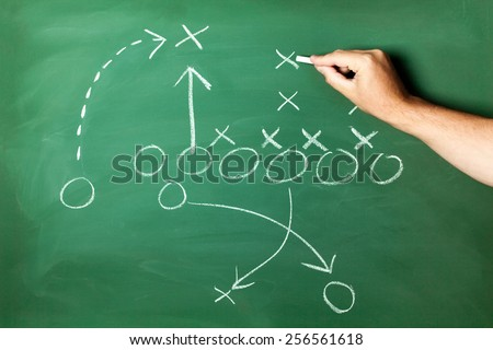 Hand drawing strategic plan on green blackboard
