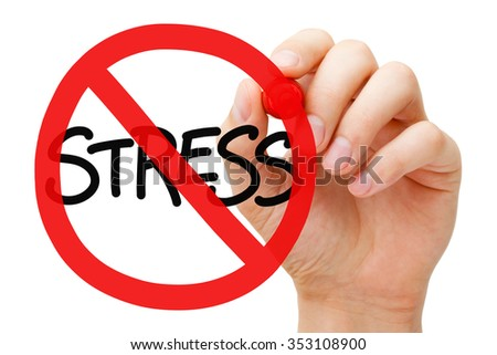Hand drawing Stress prohibition sign concept with marker on transparent wipe board. Reduce stress. - stock photo