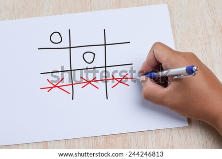 Hand drawing tic tac toe leisure game