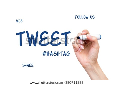 Hand drawing Tweet word. Social media conception on virtual whiteboard - stock photo