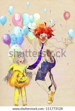 hand drawing using digital tablet (this is drawing added to the old brown paper) - happy girl and lucky clown - stock photo