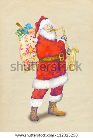 hand drawing using digital tablet (this is the colored sketch added on old paper) - - colored sketch bearded Santa Claus playing the saxophone - stock photo