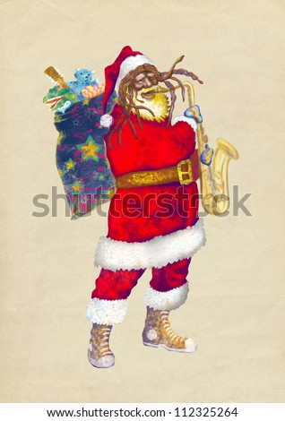 hand drawing using digital tablet (this is the colored sketch added on old paper) - - colored sketch bearded Santa Claus playing the saxophone (unconventional character) - stock photo