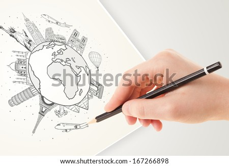 Hand drawing vacation trip around the globe with landmarks and major cities  - stock photo