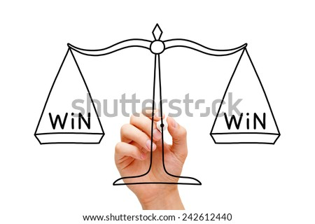 Hand drawing Win Win scale concept with black marker on transparent wipe board isolated on white.  - stock photo
