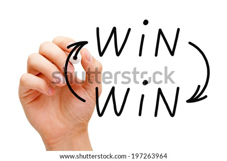 Hand drawing Win Win situation concept with black marker on transparent wipe board. - stock photo