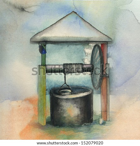 Hand drawing winter well. Original watercolor painting on paper. - stock photo