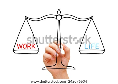 Hand drawing Work Life balance scale concept with black marker on transparent wipe board isolated on white. - stock photo