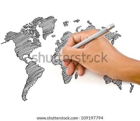 Hand Drawing World Map Globe line on the whiteboard. - stock photo