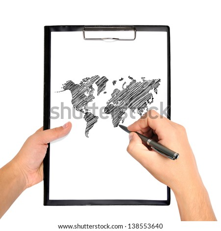hand drawing world map on clipboard