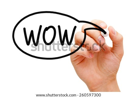 Hand drawing WOW speech bubble concept with black marker.  - stock photo