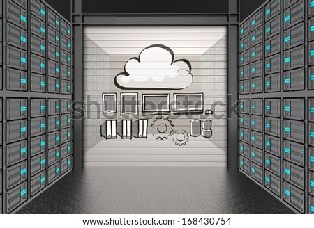 hand drawn a Cloud Computing diagram as concept - stock photo