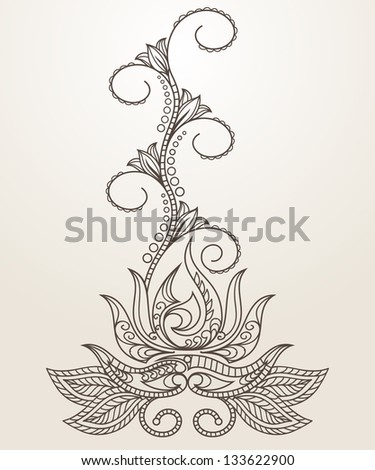 Hand-Drawn Abstract Henna Mehndi Abstract Flowers and Paisley