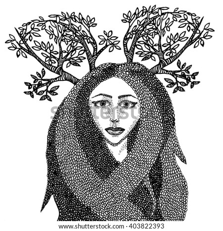 Hand drawn abstract illustration of a girl with horns of branches. May be used as t-shirt print, covers
