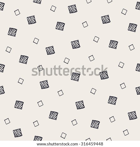 Hand Drawn Abstract Seamless Pattern with decorative randomized squares. Modern monochrome sketched geometric background. Contemporary festive graphic design. - stock photo